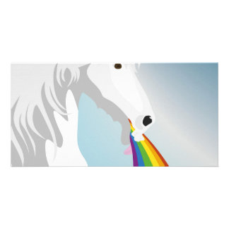 Illustration puking Unicorns Photo Card