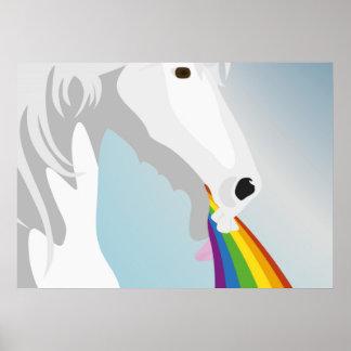 Illustration puking Unicorns Poster