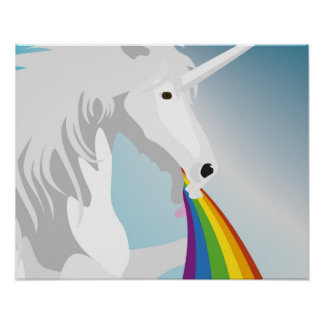 Illustration puking Unicorns Poster