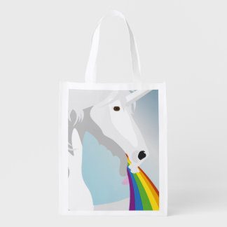 Illustration puking Unicorns Reusable Grocery Bag