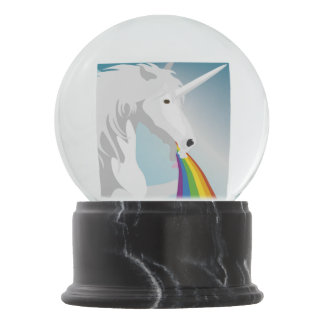 Illustration puking Unicorns Snow Globe