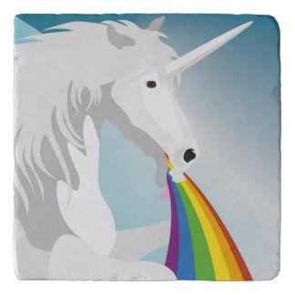 Illustration puking Unicorns Trivet