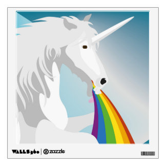 Illustration puking Unicorns Wall Decal