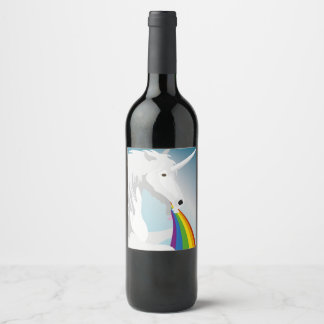 Illustration puking Unicorns Wine Label