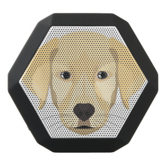 Illustration Puppy Golden Retriver Black Bluetooth Speaker
