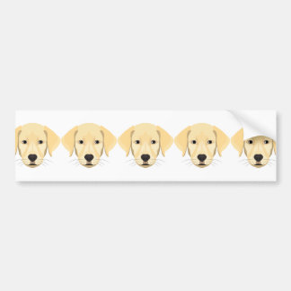 Illustration Puppy Golden Retriver Bumper Sticker