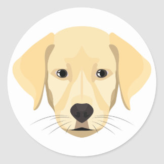 Illustration Puppy Golden Retriver Classic Round Sticker