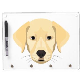 Illustration Puppy Golden Retriver Dry Erase Board With Keychain Holder