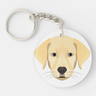 Illustration Puppy Golden Retriver Keychain