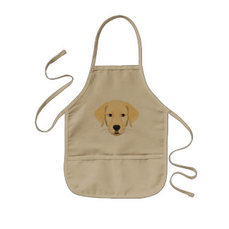 Illustration Puppy Golden Retriver Kids Apron