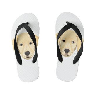 Illustration Puppy Golden Retriver Kid's Flip Flops