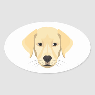 Illustration Puppy Golden Retriver Oval Sticker