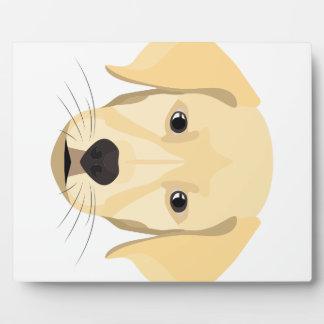 Illustration Puppy Golden Retriver Plaque