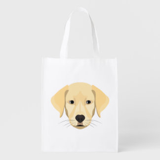 Illustration Puppy Golden Retriver Reusable Grocery Bag
