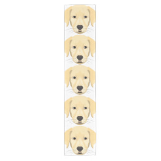 Illustration Puppy Golden Retriver Short Table Runner