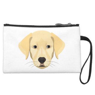Illustration Puppy Golden Retriver Suede Wristlet