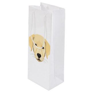 Illustration Puppy Golden Retriver Wine Gift Bag