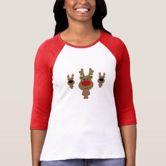 Illustration rouge vintage mignonne de renne tshirts