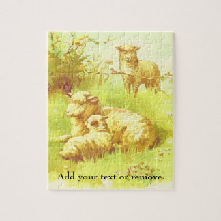 Illustration: sheep and lamb resting in a field, jigsaw puzzle