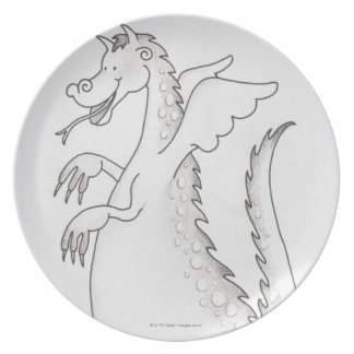 Illustration, smiling winged dragon with forked plate