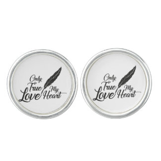 Illustration True Love Feather Cuff Links
