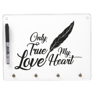Illustration True Love Feather Dry Erase Board With Keychain Holder