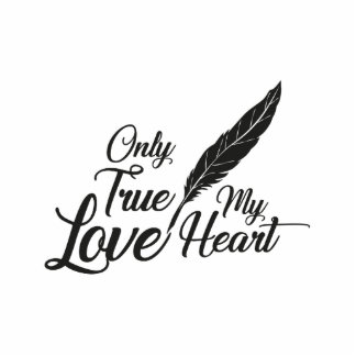 Illustration True Love Feather Photo Sculpture Button