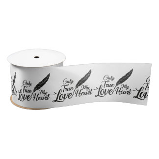 Illustration True Love Feather Satin Ribbon