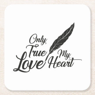 Illustration True Love Feather Square Paper Coaster