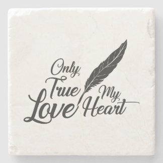 Illustration True Love Feather Stone Coaster