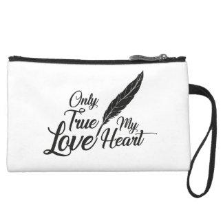 Illustration True Love Feather Suede Wristlet