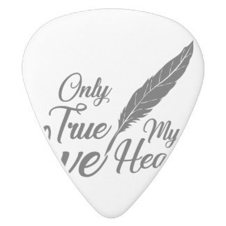 Illustration True Love Feather White Delrin Guitar Pick