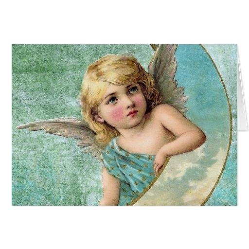 Illustration victorienne de cru d'ange et de lune carte de vœux