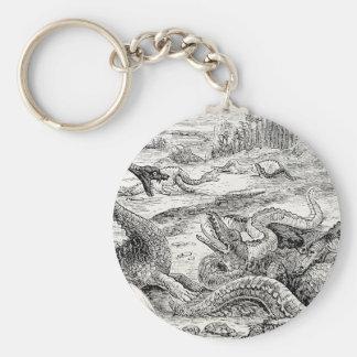 Illustration vintage de dinosaure de 1800s - dinos porte-clefs