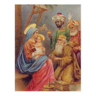 Illustration vintage de Jésus de nativité de Noël Cartes Postales