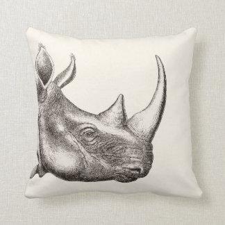 Illustration vintage de rhinocéros coussin décoratif