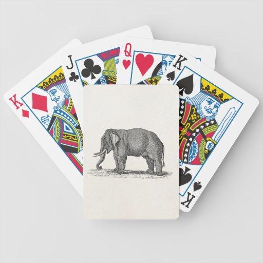 Illustration vintage d'éléphant de 1800s - éléphan cartes de poker