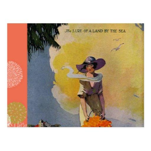 Illustration vintage des années 1900 : Par la mer Carte Postale