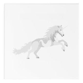Illustration White Unicorn Acrylic Wall Art