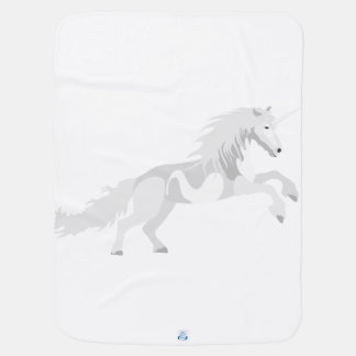 Illustration White Unicorn Baby Blanket