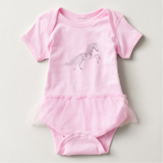 Illustration White Unicorn Baby Bodysuit