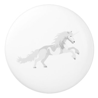 Illustration White Unicorn Ceramic Knob