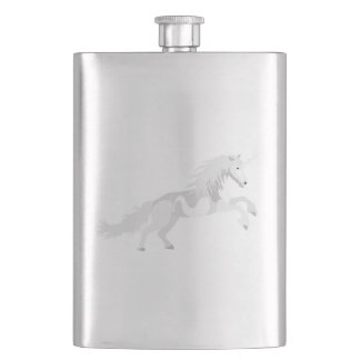 Illustration White Unicorn Hip Flask