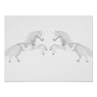 Illustration White Unicorn Poster