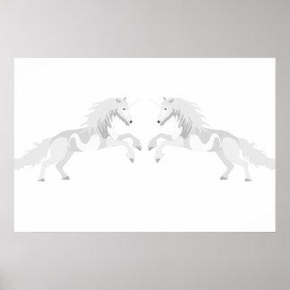 Illustration White Unicorn Poster
