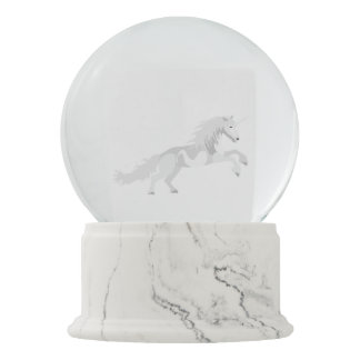 Illustration White Unicorn Snow Globe