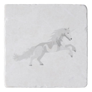 Illustration White Unicorn Trivet