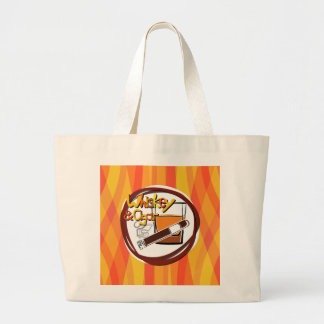 Illustration Wiskey and Cigar Large Tote Bag
