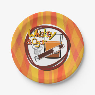 Illustration Wiskey and Cigar Paper Plate