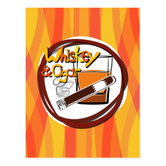Illustration Wiskey and Cigar Postcard